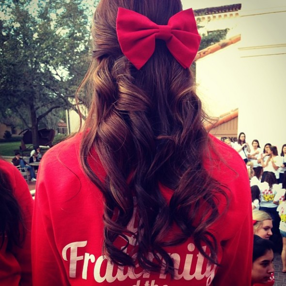 Cheering on all the beaus in a bow on men's bid day. TSM.