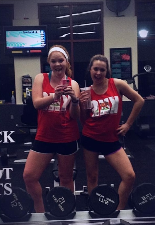 Showing up at the gym unintentionally wearing the same outfit as your big. TSM.