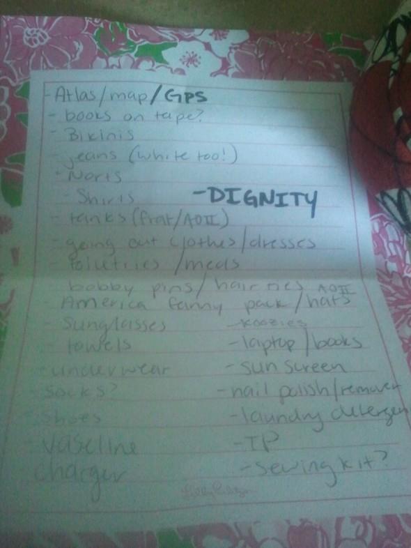 Spring break packing list. TSM.
