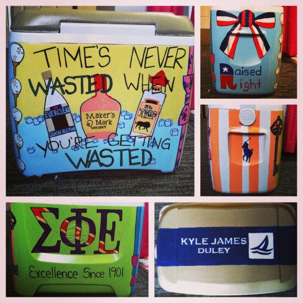 "Making your boyfriend a painted cooler ""just because."" TSM."