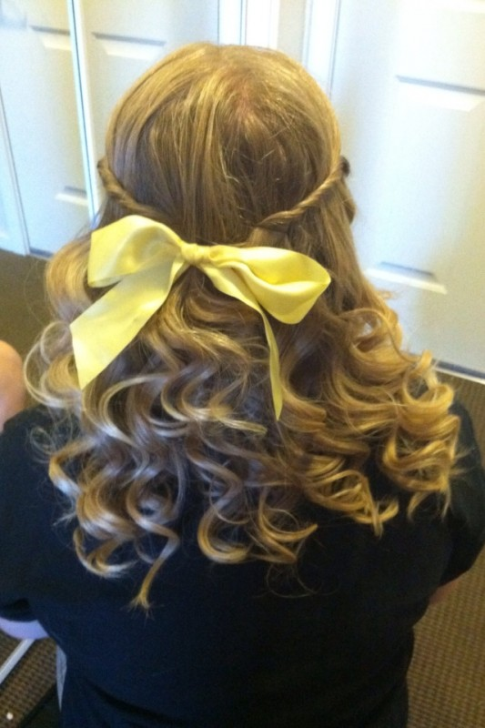 Pearly curls and bows for the last time before I shave my head for childhood cancer. TSM.