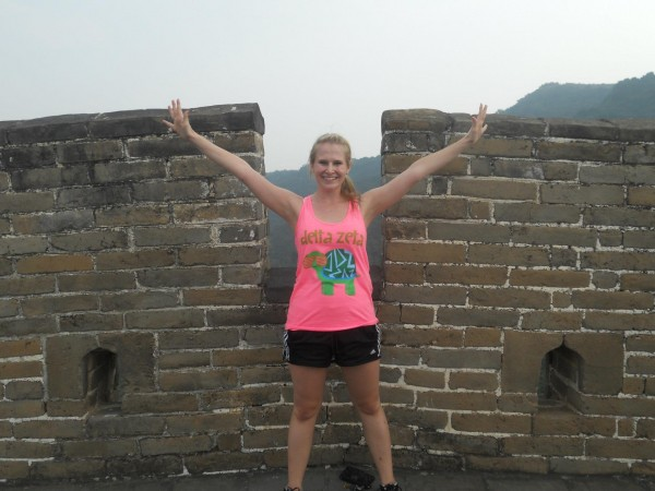 Wearing the greatest letters on the Great Wall of China. TSM.