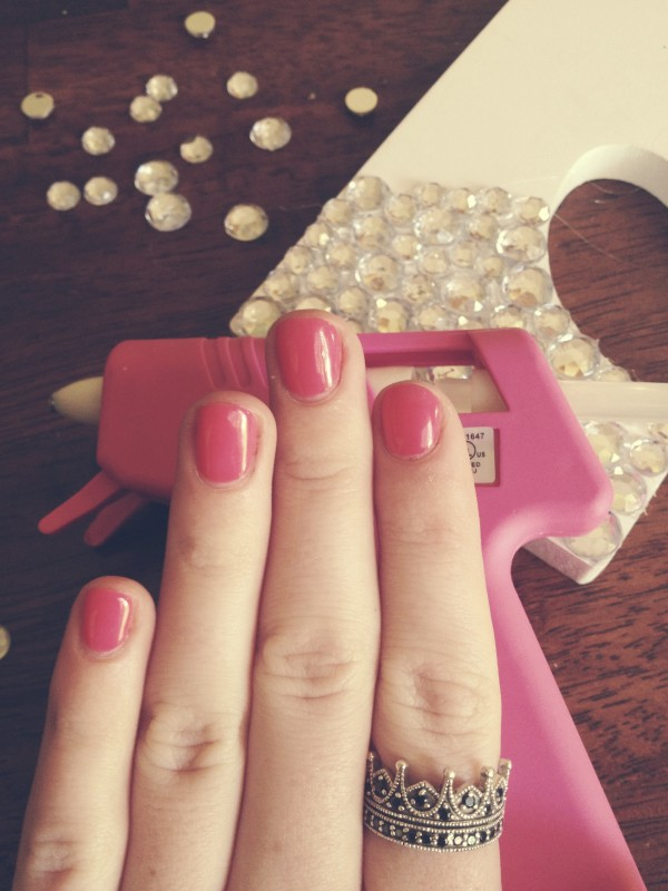 When your nails unintentionally match your hot glue gun. TSM.