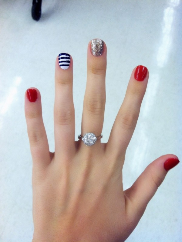 Patriotic nails to cope with the fact that my fav holiday has come and gone. TSM.