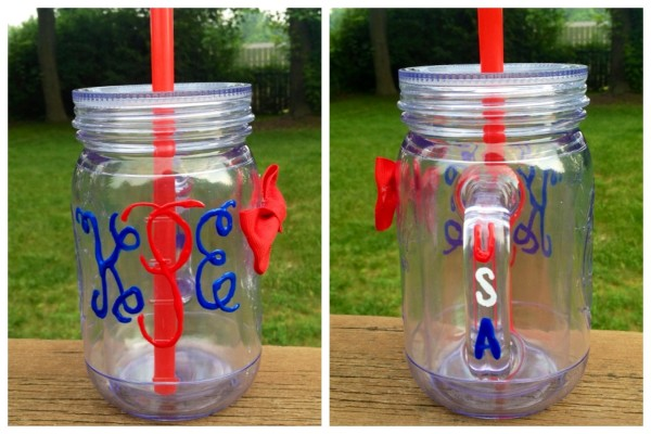 Monogramming a mason jar to celebrate the best country in the world. TSM.