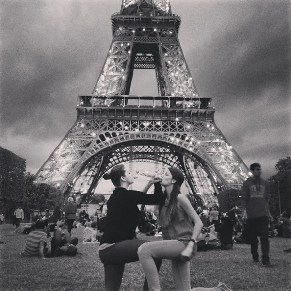 Chugging wine in front of the Eiffel Tower with your little while studying abroad. TSM.