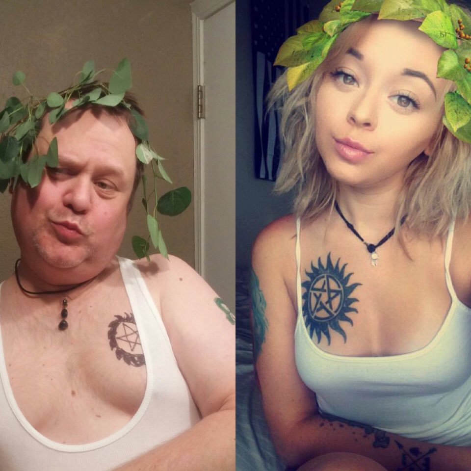 dad copies daughter's selfies