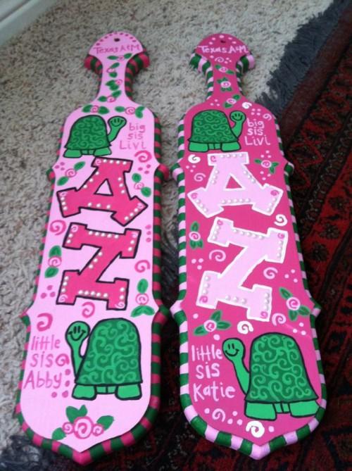 matching pink delta zeta paddles