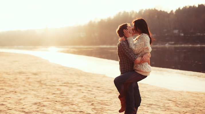 couple kissing in the autumn